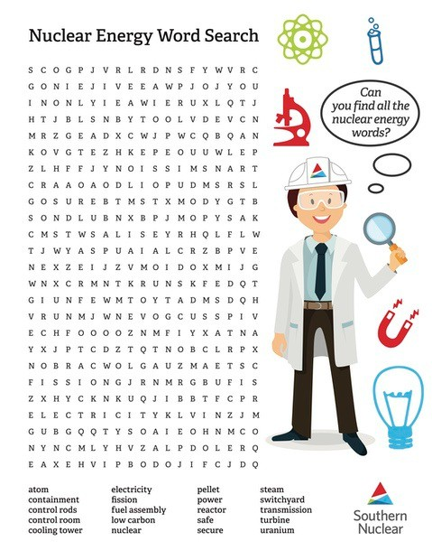 Nuclear Energy Word Search