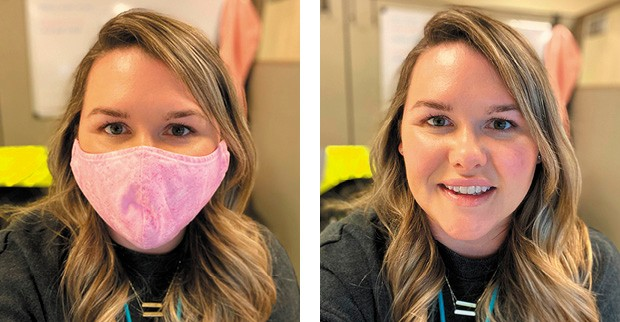 Photo of Kayla Smith with and without her mask